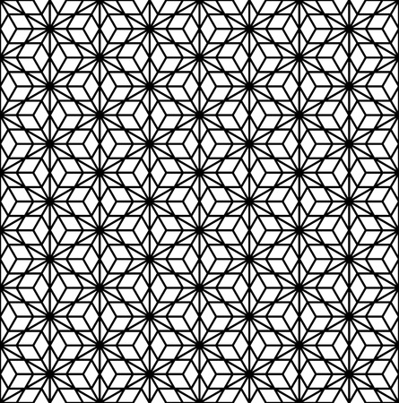 Seamless pattern based on Kumiko ornament .Black and white silhouette with average thickness lines.Suitable for laser cutting.
