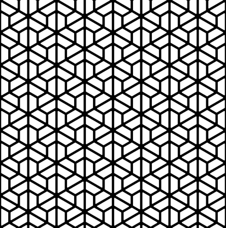 Seamless pattern based on Kumiko ornament .Silhouette with thick lines.Suitable for laser cutting or design.Rounded corners.
