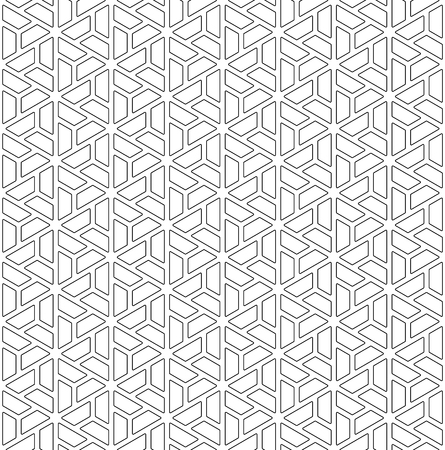 Seamless pattern based on Japanese ornament Kumiko.Black color.Rounded corners.