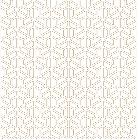 Seamless pattern based on Japanese ornament Kumiko.Golden color.Rounded corners.