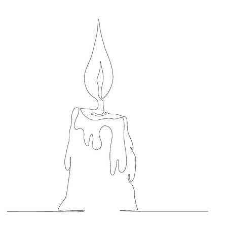 Burning candle made in oneline style.Continuous one line drawing. Vector illustration.