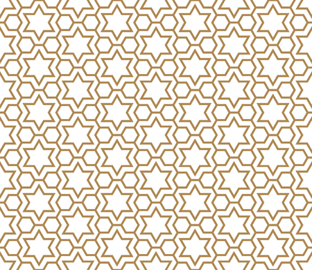 Seamless pattern in golden and white in average thickness lines.The six-pointed stars and hexagons. Illustration