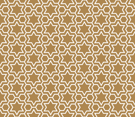 Seamless pattern in golden background and white pattern in average thickness lines.The six-pointed stars and hexagons.
