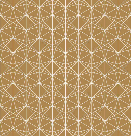 Seamless pattern based on Japanese ornament Kumiko.Gold background color.White pattern layer.