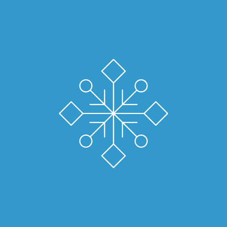 Snowflake icon. White silhouette snow flake sign, isolated on blue background.Graphic element decoration. Vector illustration. Flat design.Fine lines.Rounded corners.