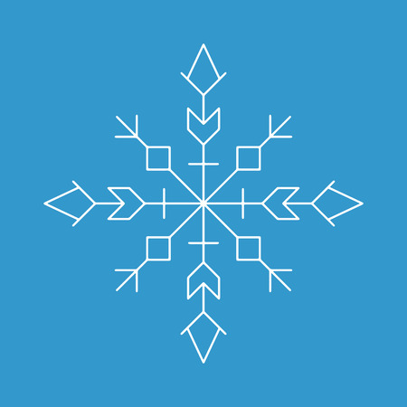 Snowflake icon. White silhouette snow flake sign, isolated on blue background.Graphic element decoration. Vector illustration. Flat lineart design.Fine lines.Rounded corners.