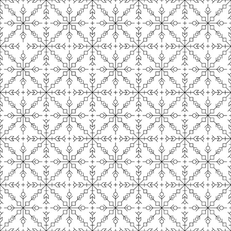 Seamless pattern. Black silhouettes like snow flakes figures on white background.Vector illustration.Fine thickness lines.Rounded corners.