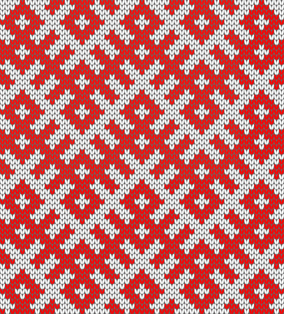 Seamless Knitting Pattern.Based on traditional Russian ornament.Red and white.Wool Knit Texture Imitation.DISABLING LAYERS, you can obtain seamless pattern.