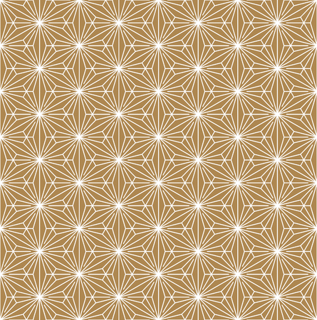 Seamless geometric pattern based on Japanese ornament Kumiko.Gold background color.White pattern layer. Vectores