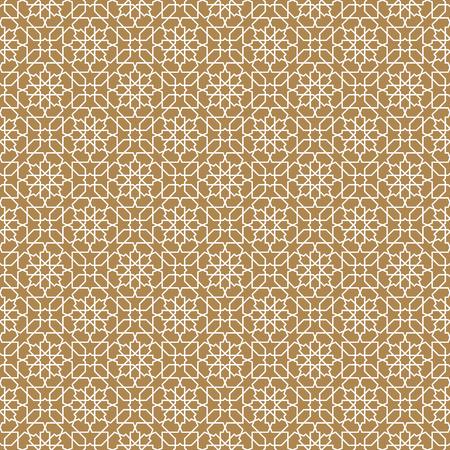 Seamless arabic geometric ornament based on traditional arabic art. Muslim mosaic. Turkish, Arabian tile on a brown background . Illustration