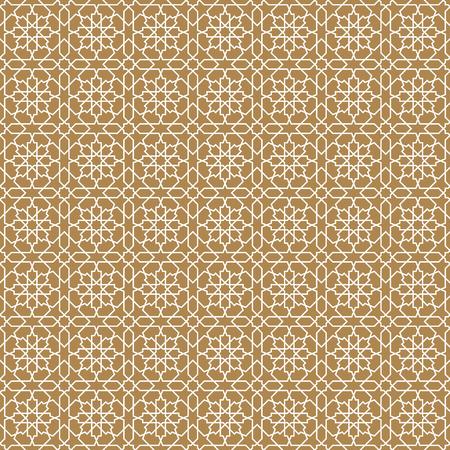Seamless arabic geometric ornament based on traditional arabic art. Muslim mosaic. Turkish, Arabian tile on a brown background .Average thickness lines. Stock Illustratie