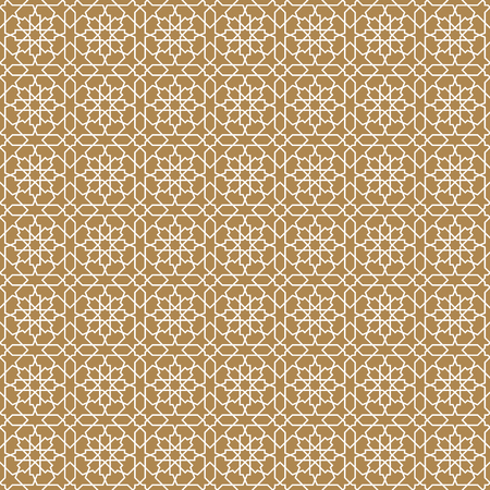 Seamless arabic geometric ornament based on traditional arabic art. Muslim mosaic. Turkish, Arabian tile on a brown background .Average thickness lines. Illustration