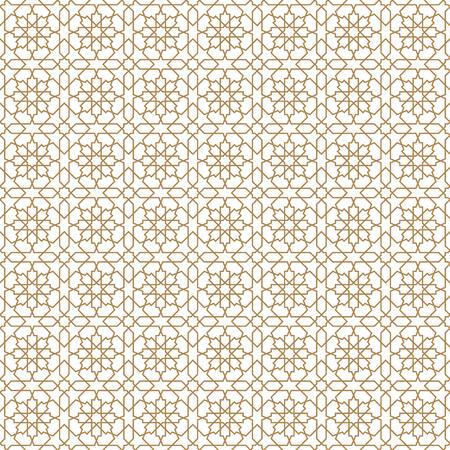 Ornement géométrique arabe sans couture basé sur l'art arabe traditionnel. Mosaïque musulmane. Tuile turque, arabe sur fond blanc. Lignes d'épaisseur moyenne.