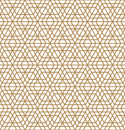Arabic geometric ornament based on traditional arabic art. Muslim mosaic.Brown color average thickness lines.