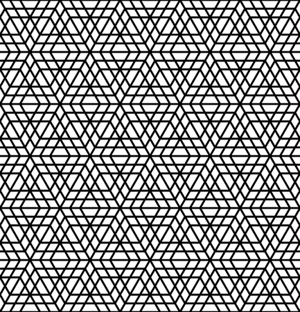 Arabic geometric ornament based on traditional arabic art. Muslim mosaic.Black and white average thickness lines.