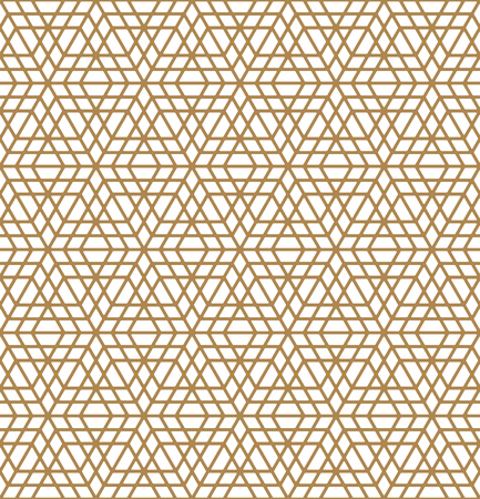 Arabic geometric ornament based on traditional arabic art. Muslim mosaic.Brown color average thickness lines.Rounded corners.