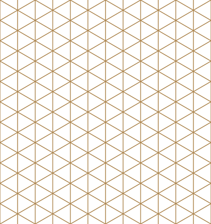 Seamless pattern.Base grid Mitsukude for japanese patterns Kumiko. Kumiko brown and white color silhouette.Average thickness lines.  イラスト・ベクター素材