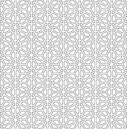 Patrón sin costuras basado en el adorno japonés Kumiko. Blanco y negro. Esquinas redondeadas. Ilustración de vector