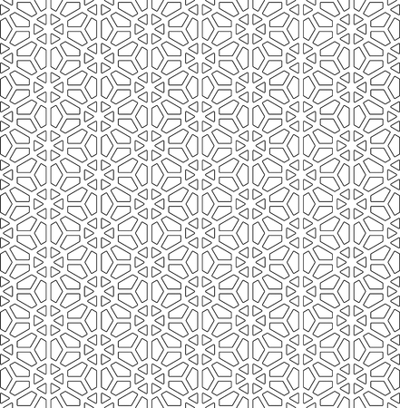 Seamless pattern based on Japanese ornament Kumiko.Black and white.Rounded corners. Ilustración de vector