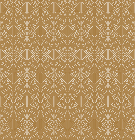 Seamless pattern based on Japanese ornament Kumiko.Brown color background and white layer.Rounded corners.