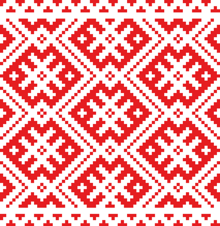 Ethnic Russian Slavic ornament embroidered cross-stitch.Scheme of squares.