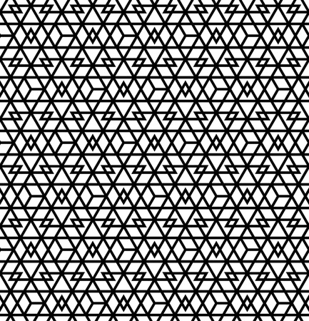 Abstract Geometric Seamless pattern .Black lines on white background.Silhouette lines with a large thickness