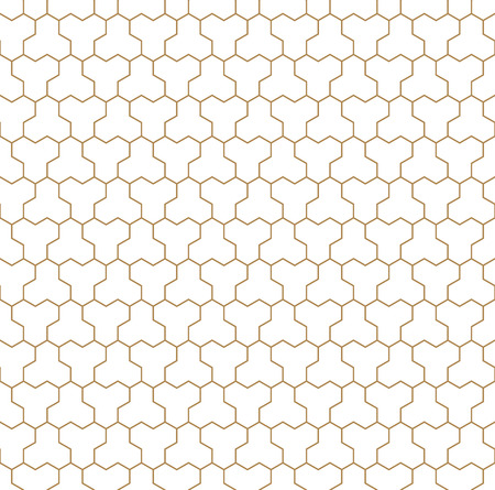 Seamless pattern based on Japanese geometric Kumiko ornament .Silhouette with average thickness lines.Suitable for laser cutting and design.Golden color lines.