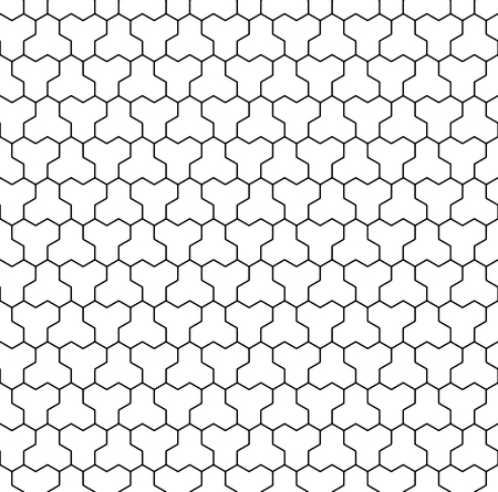 Seamless pattern based on Kumiko ornament .Black and white silhouette with average thickness lines.Suitable for laser cutting and design.ROUNDED corners.