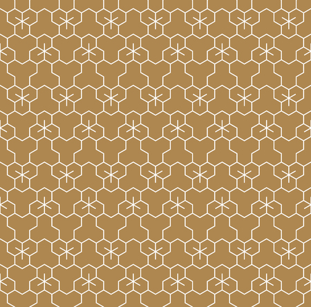 Seamless pattern based on Japanese geometric ornament Kumiko.Gold background color.White pattern layer.