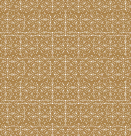 Seamless pattern based on japanese ornamet kumiko. Great design for any purposes. Background vector.Fine lines.Golden color backgroud layer,white pattern. Ilustração
