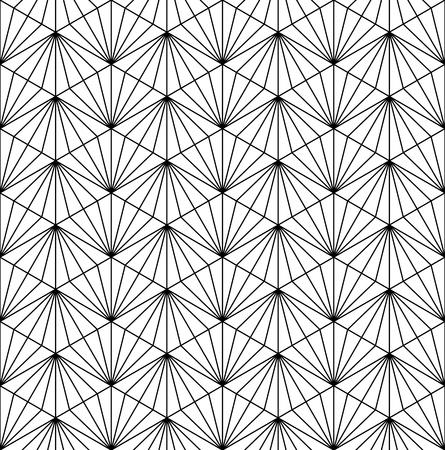 Seamless pattern based on japanese ornament Kumiko black and white silhouette.Fine lines. Illustration
