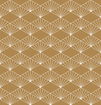 Seamless geometric pattern based on Japanese ornament Kumiko.Gold background color.White pattern layer. Ilustração