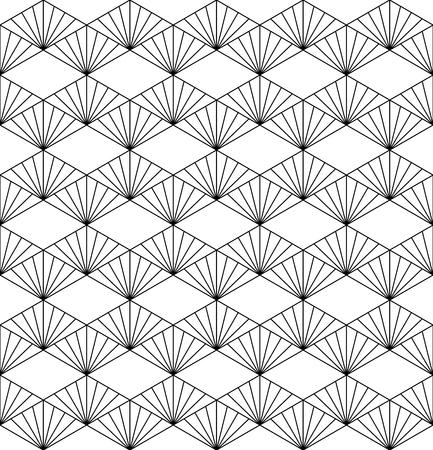 Seamless pattern based on japanese ornament Kumiko black and white silhouette.Fine lines. Çizim