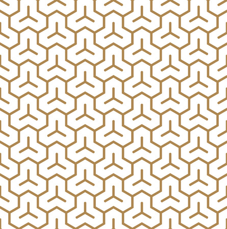 Seamless pattern based on Japanese geometric Kumiko ornament .Suitable can be used for wallpaper, textile, invitation card,laser engraving.Golden color lines.Thick lines.