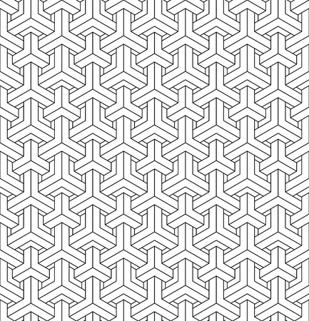 Seamless geometric pattern based on japanese woodwork ornament kumiko, great design for any purposes.Average thickness lines.