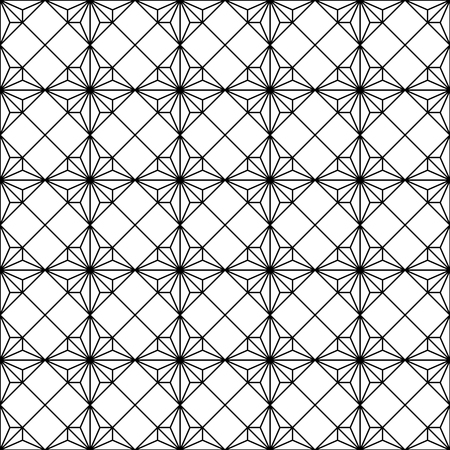 Japanese seamless geometric woodwork pattern .Black and white silhouette with average lines.For wrapping,fabric,textile,disign template,laser cutting.