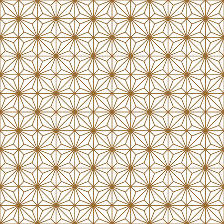 Traditional Japanese seamless woodwork geometric pattern .Silhouette with golden average lines.For wrapping,fabric,textile,disign template,laser cutting.Square grid.