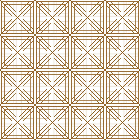 Japanese seamless geometric pattern .Brown and white silhouette with average lines.Square scheme.For design template,textile,fabric,wrapping paper,laser cutting and engraving.