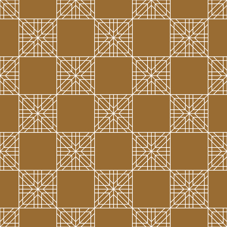 Seamless geometric Japanese woodwork ornament.Golden color background and white layer lines.Average thickness.For wrapping,fabric,textile,disign template,laser cutting.Square grid.Chess order. Ilustração