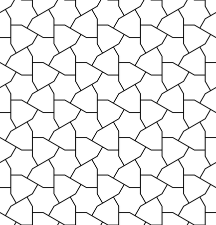 Seamless pattern based on Japanese geometric ornament.Black and white silhouette with average thickness lines. Ilustração Vetorial