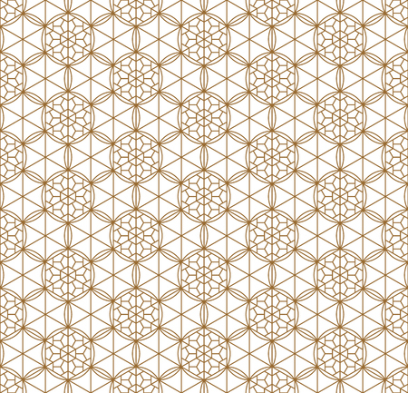 Seamless pattern japanese shoji kumiko.For template,fabric,textile,wrapping paper,laser cutting and engraving. Japanese pattern background vector.Compound ornament.Average thickness lines.Hexagon grid