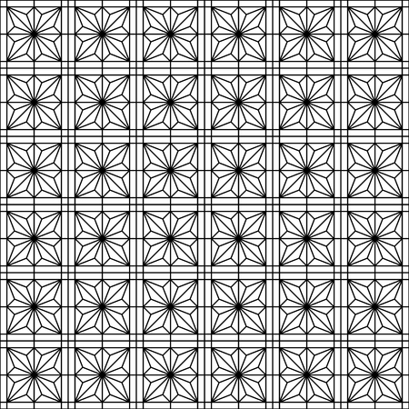 Japanese seamless geometric woodwork pattern .Black and white silhouette with average lines.For wrapping,fabric,textile,disign template,laser cutting.Square grid.