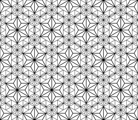 Seamless pattern based on Japanese geometric ornament.Black and white silhouette.Compound ornament.Average and thick lines.Hexagon grid.