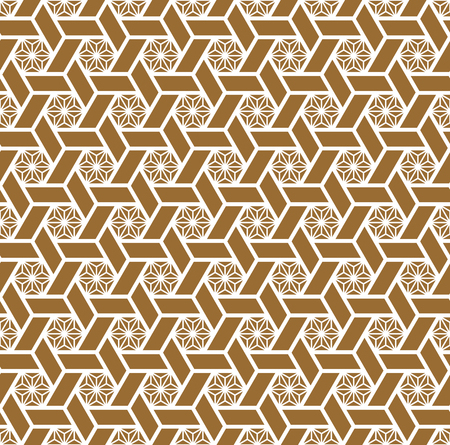 Seamless traditional geometric Japanese ornament.Golden color background and white lines.Average and thick lines.For template,fabric,textile,wrapping paper,laser cut and engraving.Compound ornament