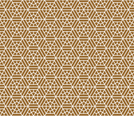 Japanese seamless pattern in style Kumiko.Golden color background and white lines.For template,fabric,shoji screens,textile,wrapping paper,laser cut and engraving.Compound ornament