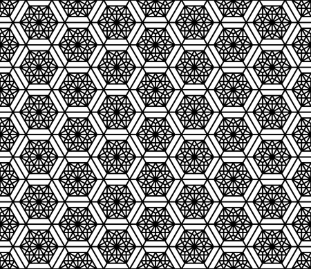 Seamless pattern based on Japanese geometric ornament.Black and white silhouette.Compound ornament.Hexagon grid. Reklamní fotografie - 124646935