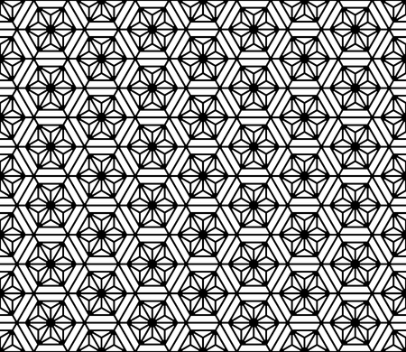 Seamless pattern based on Japanese geometric ornament.Black and white silhouette.Compound ornament.Hexagon grid.ROUNDED corners.