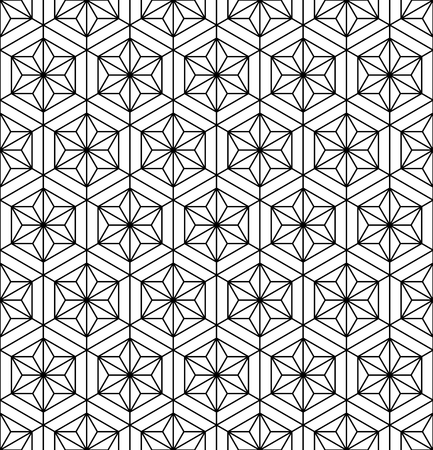 Seamless pattern based on Japanese geometric ornament.Black and white silhouette.Compound ornament.Hexagon grid.MEDIUM thickness lines.