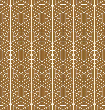 Japanese seamless pattern in style Kumiko.Golden color background and white lines.For template,fabric,shoji screens,textile,wrapping paper,laser cut and engraving.MEDIUM thickness lines.