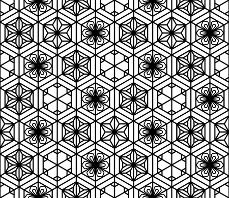 Seamless pattern based on Japanese geometric ornament.Black and white silhouette.Compound ornament.Hexagon grid.